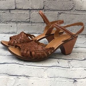Leather Huaraches Braided Camel Leather Ankle  6.5